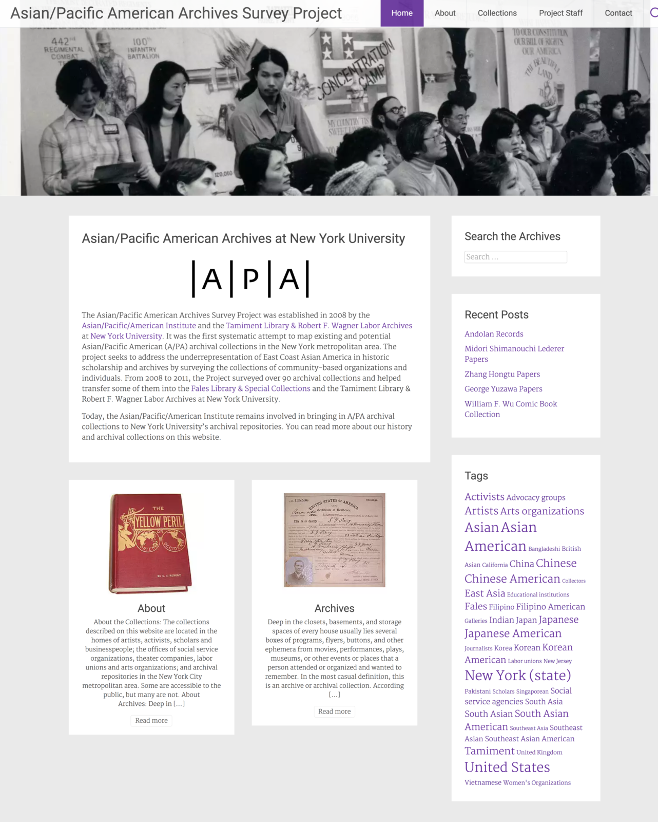 Screen shot of Asian/Pacific Archives Survey Project website