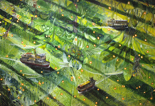 Chalana (Big) , 2014, oil on canvas, 227 x 333 cm / 90 x 132 inches. Courtesy: Oscar Oiwa Studio NY