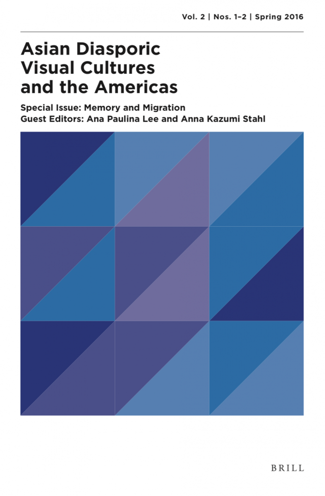 Graphic poster featuring blue and purple geometric shapes for Asian Diasporic Visual Culture and the Americas