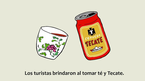 Illustration of a Tecate beer can and a tea cup