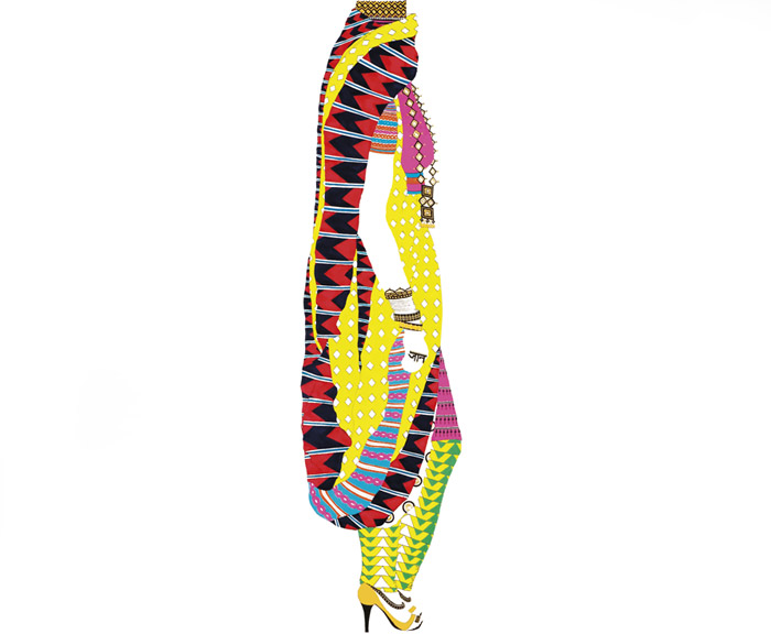 Graphic of figure wearing brightly colored, mix-matched patterned garments and accessories