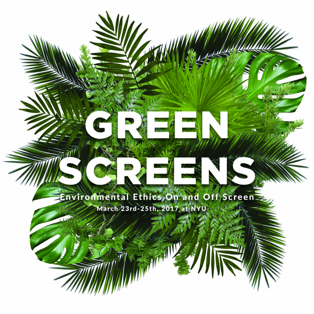 "Assorted green tropical leaves behind white ""Green Screens"" text"