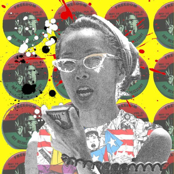 """Graphic collage of black and white photograph of Yuri Kochiyama speaking into a bull horn in front of a motif of Malcolm X's political campaign pins """"Freedom By Any Means Necessary"""""""