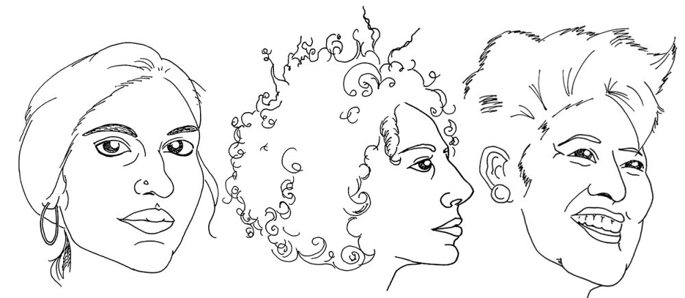 Illustrations of the faces of Chitra Ganesh, Suheir Hammad and Helen Zia