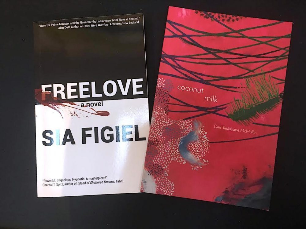 """Two book covers of """"Freelove a novel"""" by Sia Figiel and """"Coconut Milk"""" y Dan Taulapapa McMullin"""