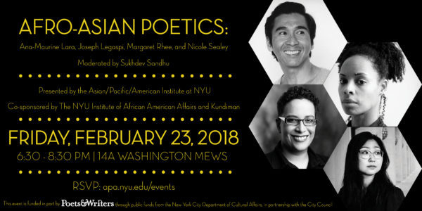 Flyer for Afro-Asian Poetics event with four headshots of panelists