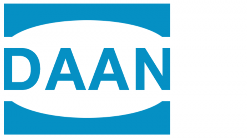 Logo for DAAN in blue and white