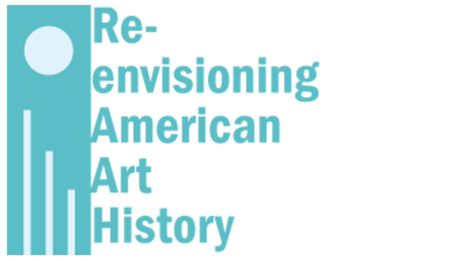 Logo for Re-envisioning American Art History in teal and white