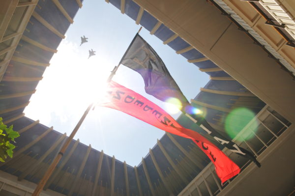 Worm's eye view of sky, with flags for Hawaiian Independence and aircraft overhead.