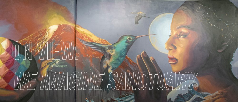 "Detail shot of ""We Imagine Sanctuary"" a mural by Jess X. Snow, created in collaboration with NYU students. The mural shows a volcano in the background, and a portrait of a student in profile and hummingbird in the foreground."