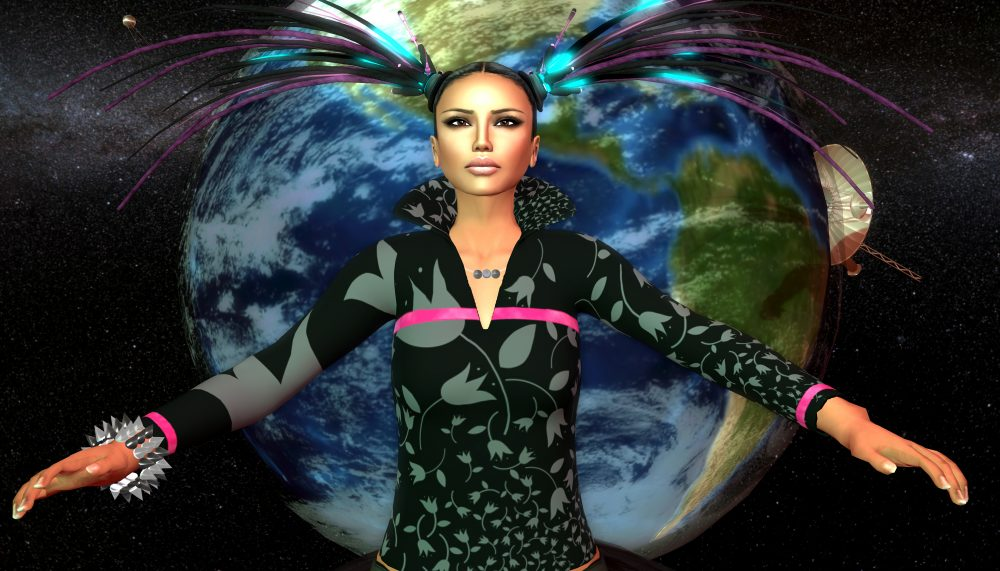 An illustration of a woman from the hips up. She stands with her arms outstretched, and looks slightly upwards. She wears a spiked cuff around her right wrist, has ponytails with purple streaks, and wears a printed black and grey floral tunic. The earth and space and depicted behind her.