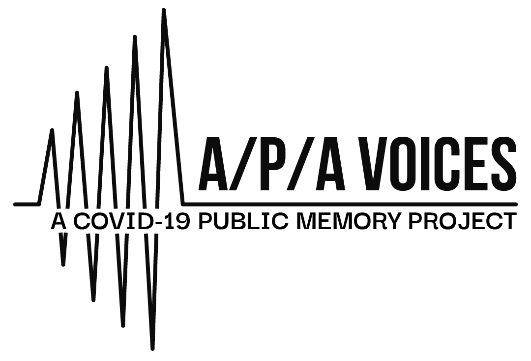 """A black and white log mimicking a sound wave. Text reads """"A/P/A Voices: A COVID-19 Public Memory Project"""""""