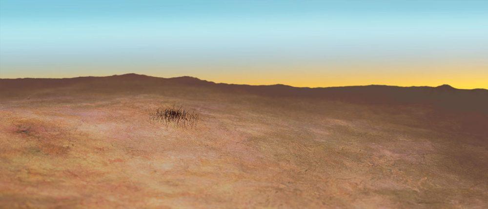 Piece by Allan deSouza. Landscape of sandy desert terrain against a blue and yellow sky.