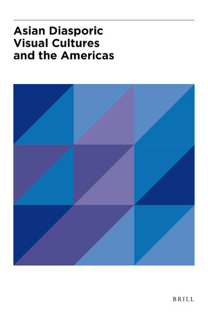 "Cover image for ""Asian Diasporic Visual Cultures and the Americas"" featuring a geometric pattern of blue and purple triangles."