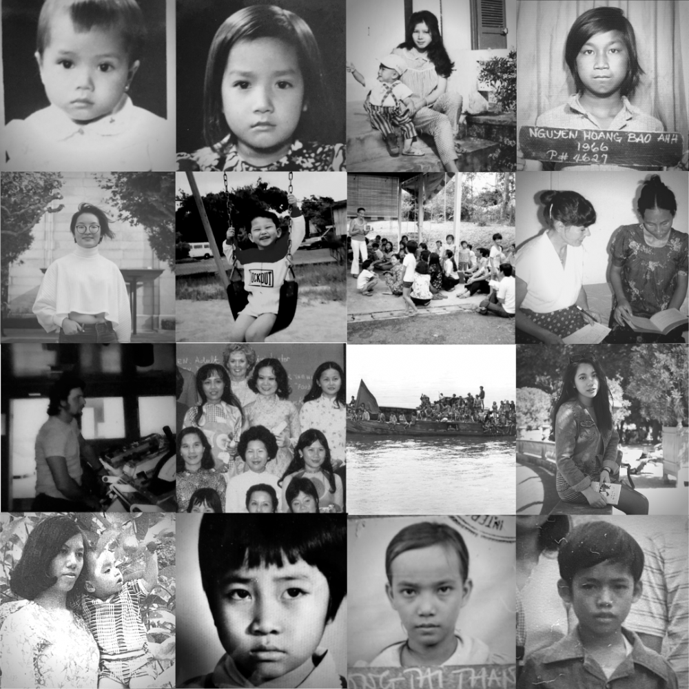 A composite image featuring a series of black and white portraits.