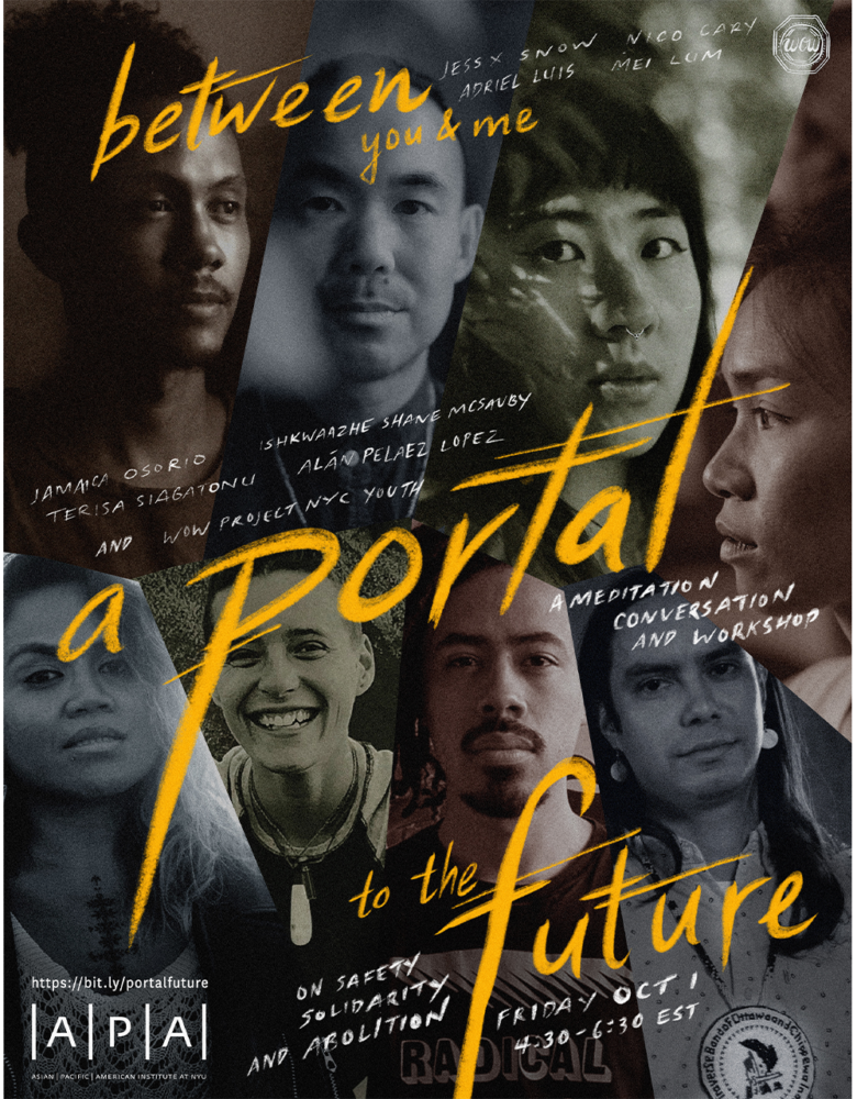 """Flyer for October 1 event, it reads """"BETWEEN YOU & ME… A PORTAL TO THE FUTURE"""" and features photographs of the featured artists."""
