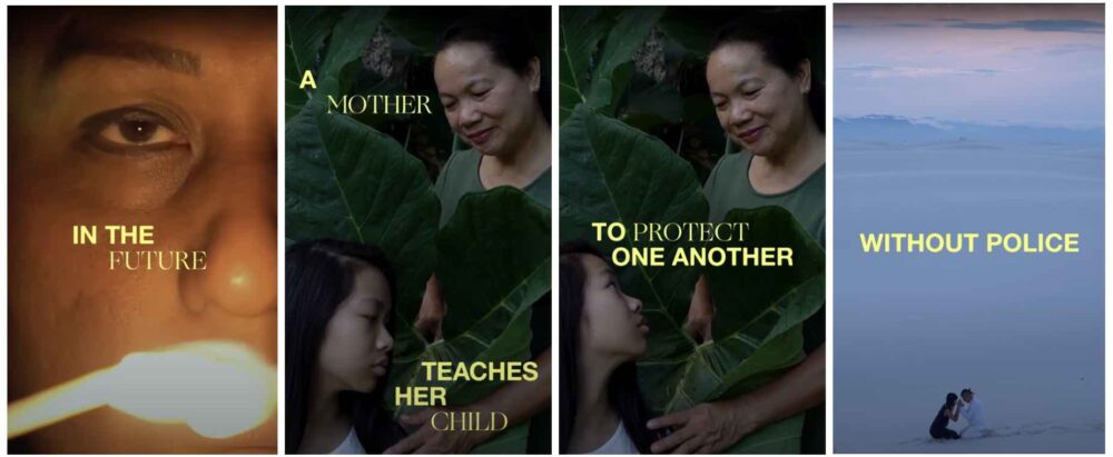 """Still from Jess X. Snow's film """"In the Future"""" It features the text """"In the Future a mother teaches her child to protect one another"""""""