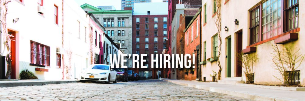 """Photograph of the Washington Mews. Text overlaid reads """"We're hiring!"""""""